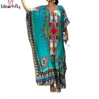 2017 여성 가운 Bazin 아프리카인 여성을위한 최신 아프리카 드레스 Femme Maxi Dashiki 드레스 전통 아프리카 의류 플러스 크기