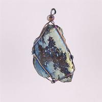 Neuheit Wire Wrap Multi-Color Titan beschichtet Flamme Aura rohen Kristall Achat Druzy Quarz Cluster Geode Stein Anhänger Perle Edelstein Probe
