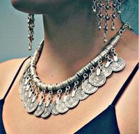 Atacado-2015 Bohemian Ethnic Antalya Yonca borla colar de prata turco Gypsy Boho Coachella praia Gargantilha Bib moeda colar para mulheres