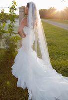 Voile de mariée de voile de dentelle cathédrale ivoire blanche voile de voile une couche avec un peigne