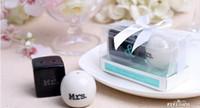 Cube Cylindre Céramique M. Mme Sel et Poivrière Blanc Noir Shaker Cuisine Outils Party Faveurs Faveur De Mariage Cadeau (2pcs / set)