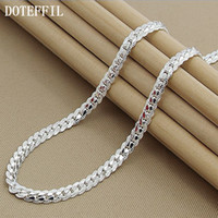 Wholesale- New Arrivals Women 6MM Full Sideways Silver Necklace 925 Sterling Silver Fashion Jewelry Women Men Necklace