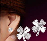 New Fashion Cute Lady Girl 925 Silver Plated Lucky 4- Leaf Ea...