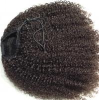 Extensiones del Ponytail del pelo humano del afroamericano pelo virginal brasileño 140g-160g Cordón rizado rizado Cola del potro # 2 color envío rápido