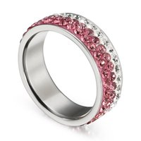 SHUNXUNZE Blue Pink Crystal Stainless Steel Anel Women'...
