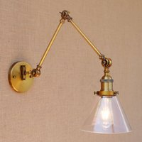 Plated Gold Bronze Industrial Glass Wall Lamp Hotel Restaura...