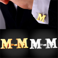 Letter M Cufflinks Fashion Platinum Plated 18K Real Gold Pla...