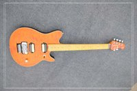 Wholesale orange quilted top 6 string guitar, maple neck, trem...