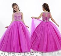 Prenses Düğün Toddler Fuschia Pageant Balığa Çiçek Kız Elbise Örgün Uzun Küçük Kızlar için Ucuz Ucuz Elbise Kristalleri Kızın Ucuz