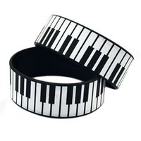 1PC Printed Decoration Logo Big Piano Keys Silicone Hand Ban...