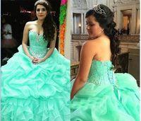 우아한 크리스탈 러프 레이스 업 공 연인 Quinceanera 드레스 민트 그린 섹시한 16 드레스 Organza 공 가운 Vestidos Longos Para Festa
