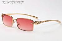 erkekler çerçevesiz manda boynuzu gözlük altın leopar çerçeveler için 2017 moda spor güneş gözlüğü yüksek kaliteli güneş gözlüğü güneş gözlüğü lunettes womens