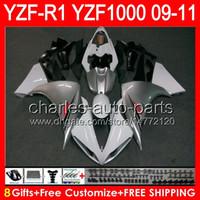 8gifts Cuerpo para YAMAHA YZFR1 09 10 11 YZF-R1 09-11 95NO5 blanco brillante YZF 1000 YZF R 1 YZF1000 YZF R1 2009 2010 2011 TOP plata blanco carenado