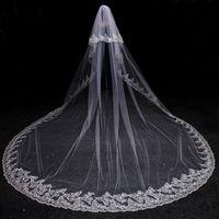 Gerçek Fotoğraflar 2 Katmanlar Lüks Payetli Dantel Kenar 3 Metre Uzun Brida Peçe Tarak Düğün Aksesuarları Ile Beyaz Fildişi Düğün Peçe