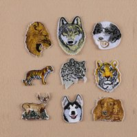 Ferro Em remendos DIY Remendo Bordado adesivo Para roupas Roupas Emblemas de Tecido De Costura tigre lobo leão leopardo design