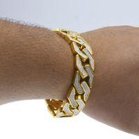 Bracelet joncs de soufflage de sable cubique Hip Hop pour homme, ton argent doré, bracelets épais de 18 mm