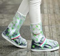 Impermeable impermeable antideslizante Zapatos transparentes de moda Cubra las botas de lluvia de fondo grueso Modelos infantiles Cubierta de pantaletas