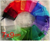 Omh wholesale100pcs 7x9 سنتيمتر 25 اللون مختلطة لطيفة الصينية الفوال عيد / هدية الزفاف حقيبة الأورجانزا حقائب مجوهرات هدية الحقيبة bz04