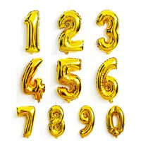 Large 32 Inch Number Aluminum Balloon Gold Silver 0 to 9 Foi...