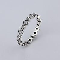 großhandel neue Retro diamant 925 Silber Unterschrift Pflastern Runde Ring Fit Pandora Zirkonia Jahrestag Schmuck für Frauen