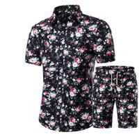 جديد الصيف الرجال قميص + شورت مجموعة عارضة المطبوعة هاواي قميص أوم قصيرة الذكور الطباعة اللباس مجموعات البدلة زائد الحجم