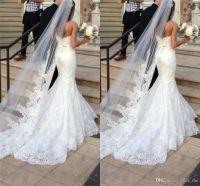 Nouveau Voyant long Veil à vendre d'une couche Tulle Voile Veil de mariage Appliques / Dentelle Voiles de mariée Blanc / Ivoire Voile pour robes de mariée