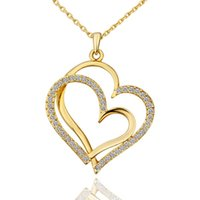Лучший подарок Мозаика персиковое сердце белый кристалл 18 К золото Ожерелья, бесплатная доставка женщин Желтое золото кулон Ожерелье включают цепи EGN584