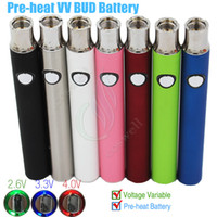 Nouvelle pile à préchauffage à tension variable Pre Heat Button Stylo réglable BUD 350mAh CE3 vaporisateur 510 cartouches et cig cigarettes stylo à vapeur