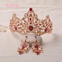 Diademi nuziali barocchi vintage Parure di cristalli rossi oro Principessa copricapo Splendidi diamanti bianchi Diademi e corone di nozze Set 15 * 10 H18