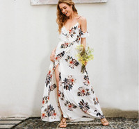 Floral print ruffles chiffon long bohemian dress Women strap...