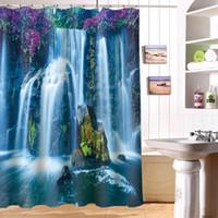 Cachoeira de água de fluxo de água cortinas de chuveiro personalizado impermeável 3D cortina de chuveiro poliéster digital cachoeira banheiro cortinas