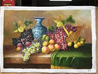 844b27a0a Yi Le Mai Sem Moldura Pura Mão Pintada Moderna Decoração Da Parede de  Frutas Pêssego Uva Azul Garrafa de Arte Pintura A Óleo Sobre Tela de  Qualidade
