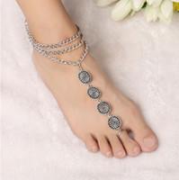 Bijoux pour femmes Vintage argent bohème 3 glands superposés pièce gravée avec chaîne pendentifs anneaux bracelets de cheville Boho bracelet de bretelles bracelet sandales aux pieds nus