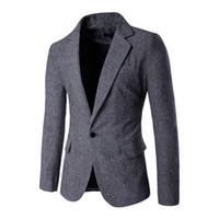 Vente en gros - 2016 Hommes Slim Fit Blazer Taille M-XXL Mode Hommes Blazer Simple Bouton Designs et costumes Jacket Casual Blazer 9282