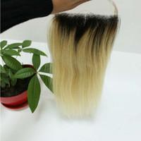 1b 613 два тона кружева закрытия бразильский прямо волна тела перуанский Индийский малайзийский девственные человеческие волосы ломбер топ закрытие 4*4