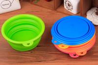 La alimentación de silicona perro Fording Tazón plegables Gatos Gato agua del plato alimentador portátiles perrito viajes cuencos