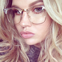 Al por mayor-Medio Marco Clear Glasses Myopia Clear Frame Glasses Mujeres Hombres Espectáculo Marco Gold Clear Lens Optical Glass Lunette