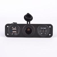 CAR garantizado 100% de mechero USB doble pantalla LED zócalo voltímetro digital medidor con zócalo de la corriente y el agujero pálido de Freno Coche