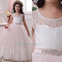 2017 White Pink Lace Ball Gown Flower Girl Dresses For Weddi...