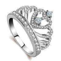 2017 Sıcak Satış Lüks Takı 925 Ayar Gümüş Beyaz Topaz Simüle Elmas Taşlar Kadınlar Düğün lady Parmak Taç Yüzük Size5-11