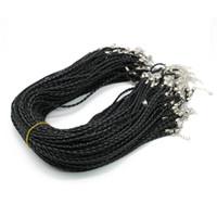 Faux couro rodada colar de cordão, ajustável colar preto 3.0 mm, trançado colar de cabo de couro de 19 polegadas com fecho lagosta para diy zyn0003