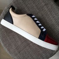 New 2017 mens womens red toe colorblock leather lace up low ...