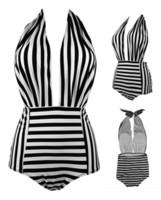 새 스타일 한 조각 섹시 비키니 blackwhite 스트라이프 브래지어 패드와 함께 아니 브래지어 스틸 홀더 레이디 수영복 S-XL