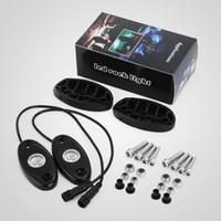 """4 포드의 5 세트 RGB LED 락 라이트 키트 3 """"9W 3LED 크리 칩 블루투스 컨트롤 음악 플래시 시밍 색 변경 가능 Offroad SUV JEEP Motor"""