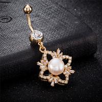 Europa und Amerika Mode 18 Karat Gelbgold überzogene CZ Pearl Bauchring für Mädchen Frauen Body Piercing-Knopf