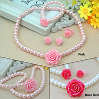 4pcs Girls Rose Flower Bead Necklace Sets Children Pearl Jew...