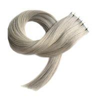 7A серая лента наращивание волос 40 шт двухсторонняя кожа утка ленты в человеческих волос расширения 100 г прямой серебряно-серая лента расширение