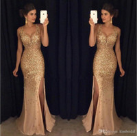 Gold Prom Kleider Kristall Perlen tiefem V-Ausschnitt Meerjungfrau Chiffon High Slit Abendkleid tragen formale Party-Kleid