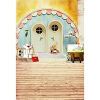 الباب الخشبي الفينيل خلفية الرقمية مطبوعة الاطفال اللعب لوحات الطفل الوليد التصوير الدعائم الأطفال ستوديو صور خلفية الأرضيات الخشبية