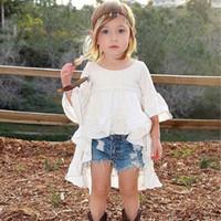 Ins Niñas Vestidos de algodón Vestidos de Princesa Vestido Largo Fiesta de Verano Vestido de Camisa Formal Moda ropa de niños Ropa de Niño A546